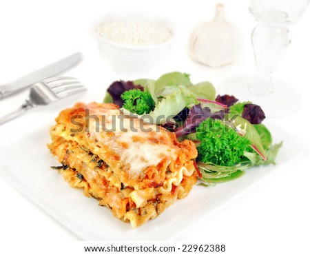 Lasagna and salad on a white plate with romano cheese.