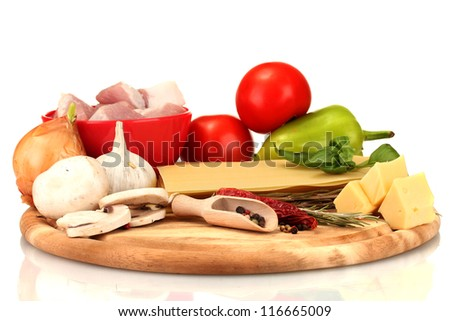 Lasagna ingredients isolated on white