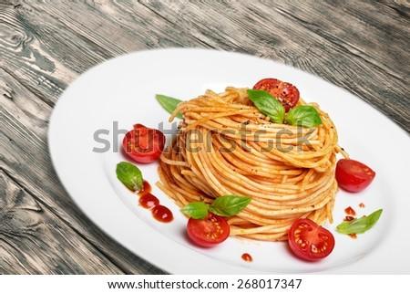 Lasagna. Italian pasta with tomato sauce