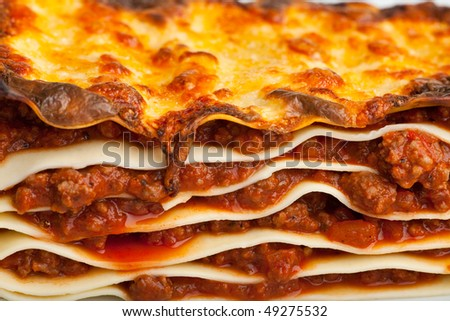 lasagna noodle dish on a white plate