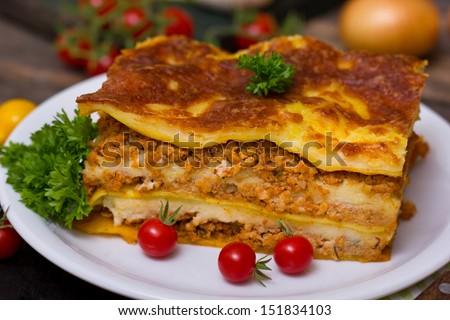 Lasagna on the plate