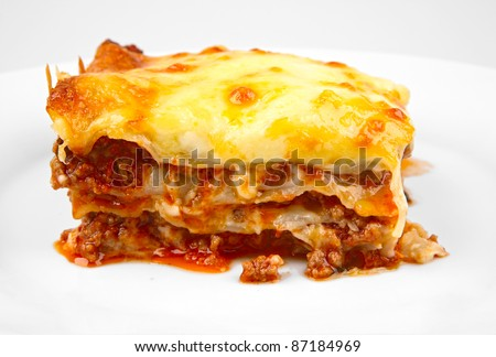 lasagna portion closeup