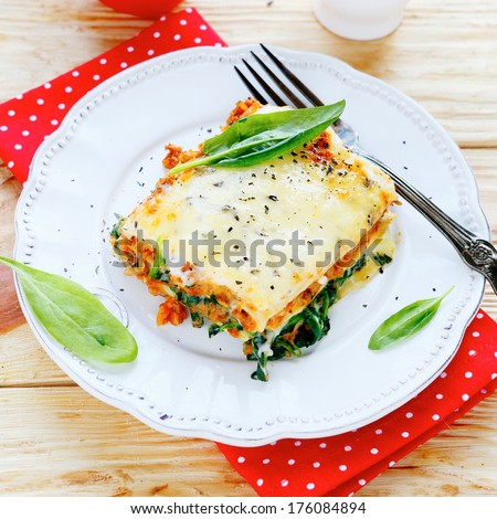lasagna with spinach and mushroom stuffing, food