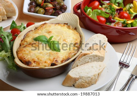 Lasagne with Italian salad and bread