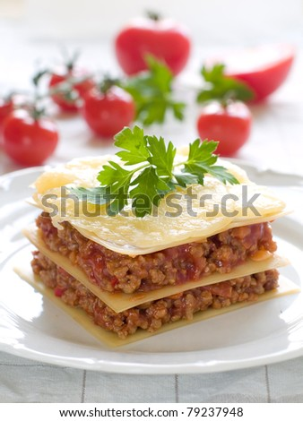 Lasagne with meat, tomato and cheese. Selective focus