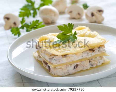 Lasagne with mushroom and cheese. Selective focus