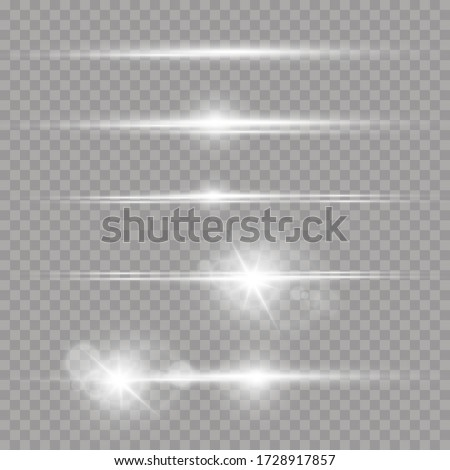 Laser beams, horizontal light rays. White glowing light explodes on a transparent background. Beautiful light flares.