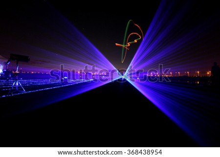 Laser - helicopter night show