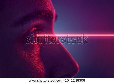 Laser hits eye #1041248308