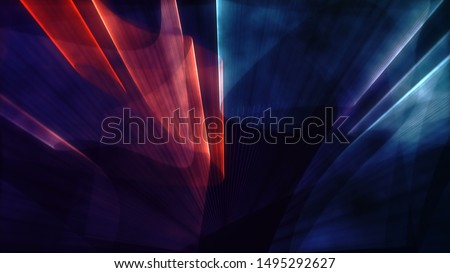 Laser neon red and blue light rays flash and glow. Festive concert club and music hall abstract 3D illustration for pop, rock, rap music show. Colorful design overlay Foto stock ©