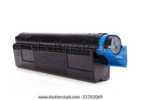 Laser printer toner cartridge shot over white background