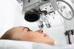 Laser vision correction. A patient in the operating room during ophthalmic surgery
