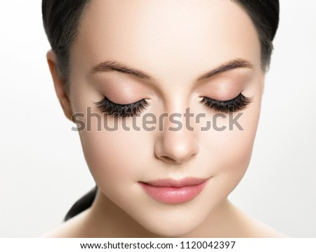 Lashes extension, eyelash, beautiful woman eyescloseup