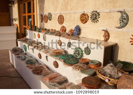 LASSITHI, GREECE - JUNE 26: Traditional Cretan souvenirs on Lassithi plateau on June 26th, 2015. Crete island, Greece #1092898019