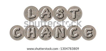 LAST CHANCE – five new pence coins on white background #1304783809