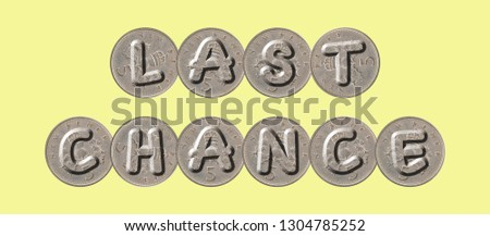 LAST CHANCE – five new pence coins on yellow background #1304785252
