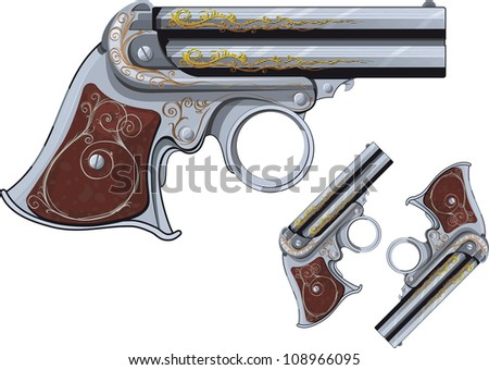 last chance Weapon, pocket Derringer pistol. ornate and isolated on a white background. Raster version - stock photo