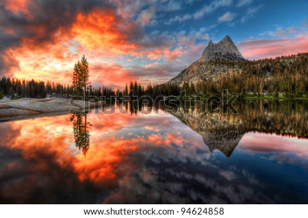 Last Light at Cathedral Lake Yosemite National Park, California