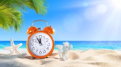 Last Minute - Summertime Concept - Alarm In Tropical Beach