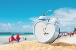 last minute to count down for travel metaphor by old retro clock on sand beach ,abstract background to time for summer vacation travel concept.