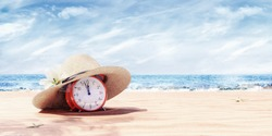 Last minute travel offer with alarm clock on the beach, Summertime background 3D Rendering