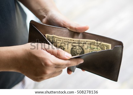 last one dollar money banknote in wallet, bankrupt concept. Stock photo ©