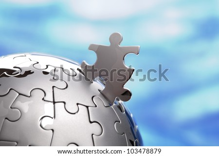 Last piece of a global puzzle concept for business solutions and strategy