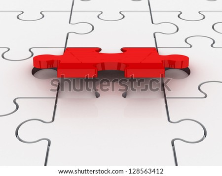 Last piece of jigsaw puzzle piece completing or finishing white puzzle, isolated on white background.