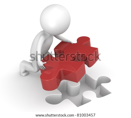 Last Piece of the Puzzle. 3d little human character with a Red Jigsaw Puzzle Piece