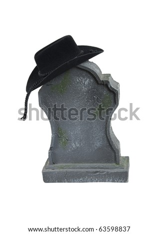 Last rodeo shown by a cowboy hat on a tombstone - path included