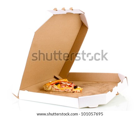 Last slice of tasty pizza in box close-up isolated on white