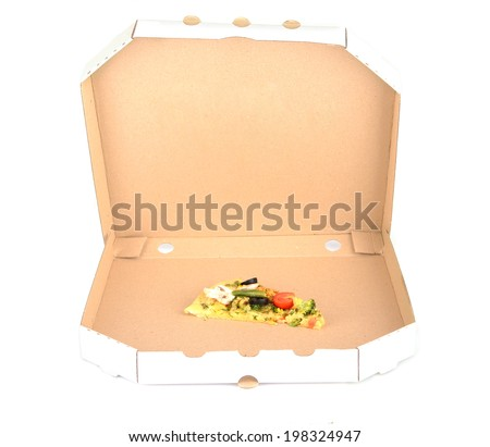 Last slice of tasty vegetarian pizza in box, isolated on white