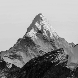 Last sun rays on the Ama Dablam (6814 m) at sunset (view from Kala Patthar (5600 m))- Everest region, Nepal, Himalayas (black and white)