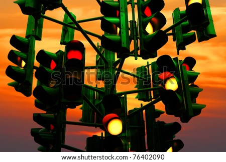 Last traffic light in Eilat (Israel) on the colorful sunset background. Eilat is a city without traffic lights. Instead of them - the squares. And it is a photo of the last traffic light of a city.