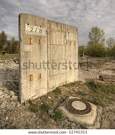 Last wall standing on a demolition site - stock photo