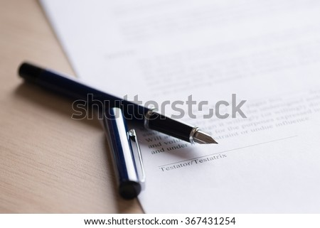 Last Will and testament document with pen. Place for testator sign Foto stock ©
