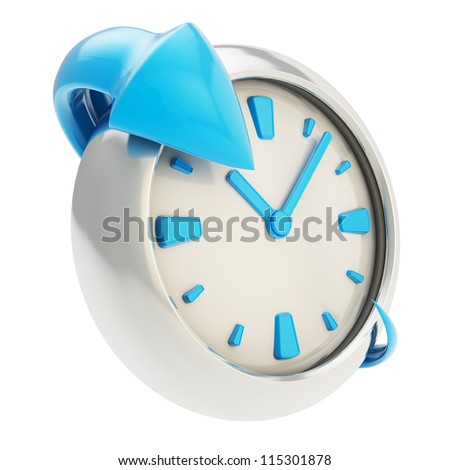 Lasting effect emblem icon: glossy blue arrow around the chrome metal clock emblem isolated on white background