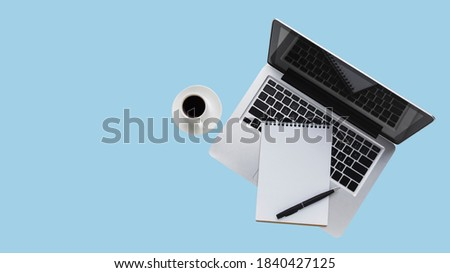 lat lay of desktop with laptop isolated