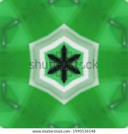 Latar belakang hijau dekoratif antik dengan pola simetris kaleidoskopik abstrak geometris Stock fotó ©