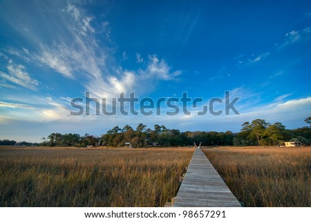 Late Afternoon Over the Marsh and Dock - South Carolina