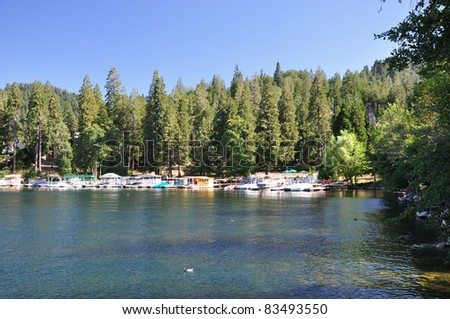 Late afternoon view of Lake Arrowhead. Located in the San Bernardino mountains in Southern California.