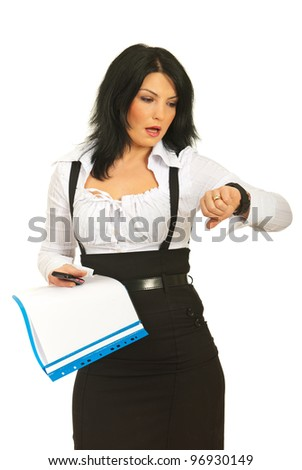 Late busy business woman holding folders,phone mobile and checking time isolated on white background