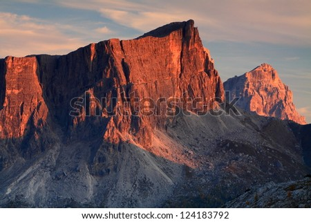 Late evening light over the Dolomite Alps, Italy
