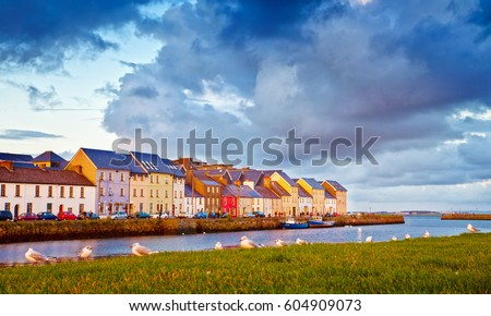 Late Evening Sunlight on colourful houses.Galway City, Ireland.
