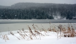 Late fall, early winter landscape in Bromont, Eastern township  Quebec, Canada