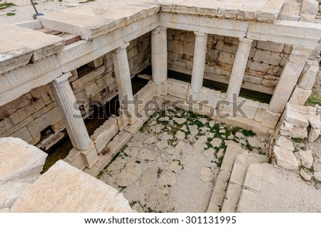 Late Hellenistic fountain house at Sagalassos Turkey, built during the 1st century BC as a U-shaped portico.