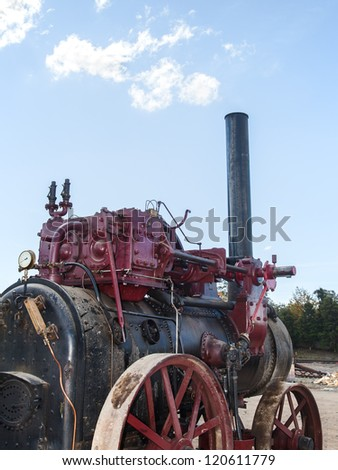 late nineteenth century steam truck as a old industrial technology background