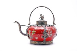 Late Qing dynasty style teapot, isolated on white background. Translation : Chinese character/ Chinese alphabet on the teapot meaning is Happiness.