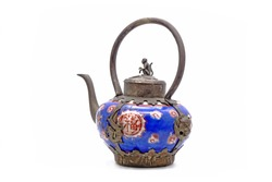 Late Qing dynasty style teapot, isolated on white background. Translation : Chinese character/ Chinese alphabet on the teapot meaning is Happiness