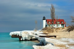 Late Winter thaw at Point Betsie Lighthouse, Lower Michigan